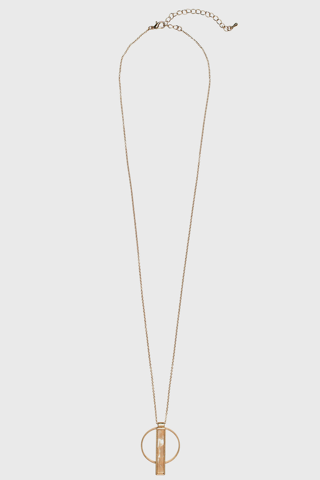 Long Necklace with Circle and Bar Pendant (BSJ3513)- Final Sale-NECKLACE-BaySky