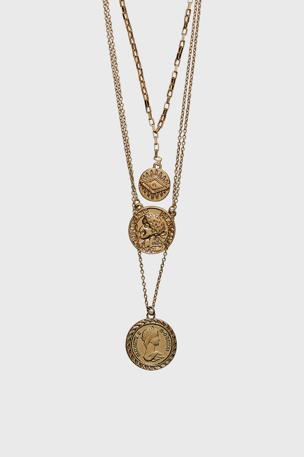 Triple layer chain with coins (BSJ3531)- Final Sale-NECKLACE-BaySky