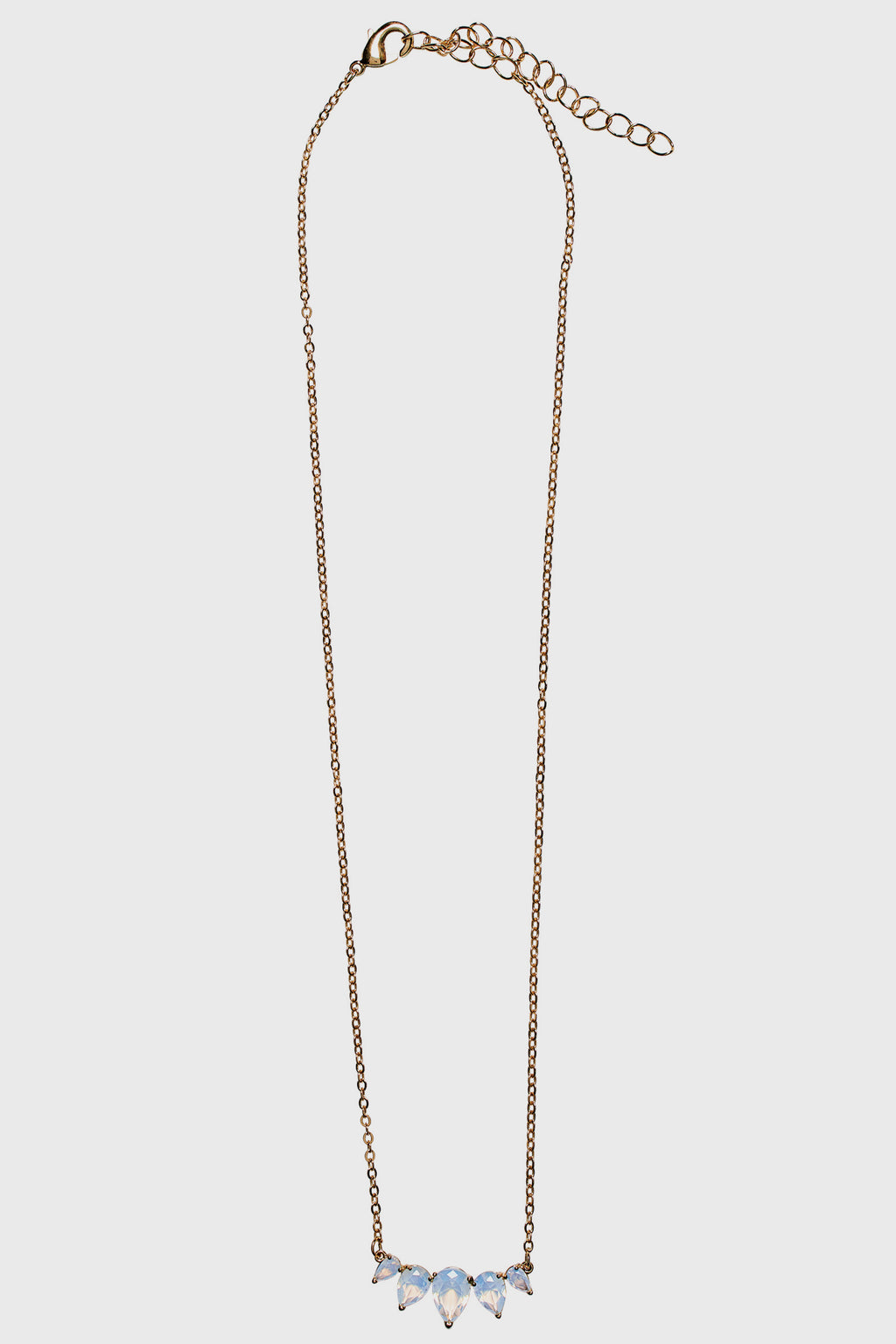 Dainty chain with white faux opal stones (BSJ3532)- Final Sale-NECKLACE-BaySky
