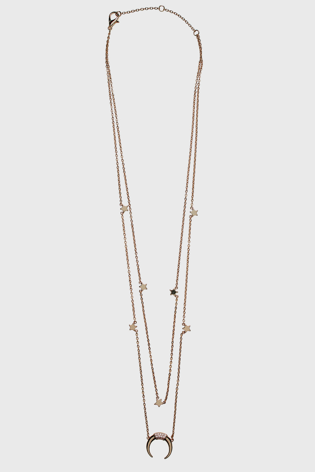 Double layer chain with stars and crescent moon (BSJ3538)-NECKLACE-BaySky