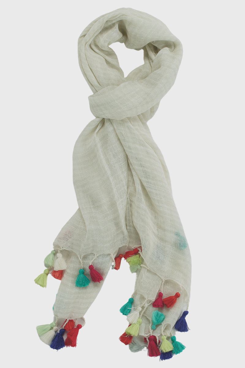 Womens Cotton Scarf With Tassels-SCARF-BaySky