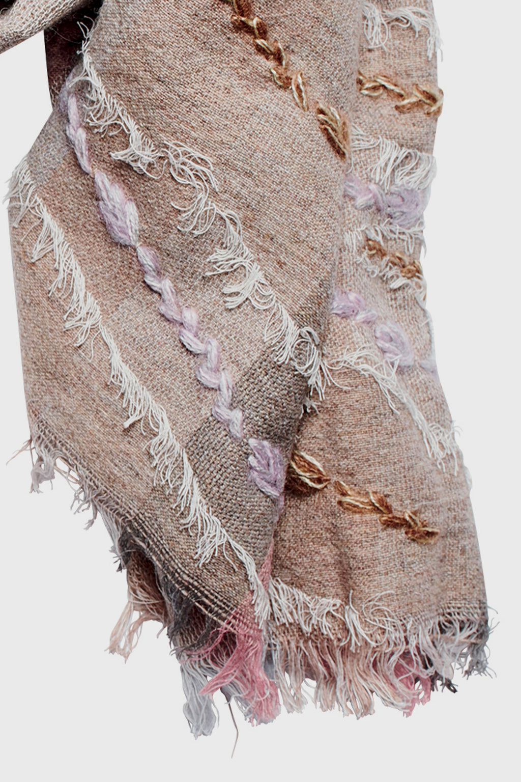 Woven Embroidered Fringe Shawl (BSS3659)-SCARF-BaySky