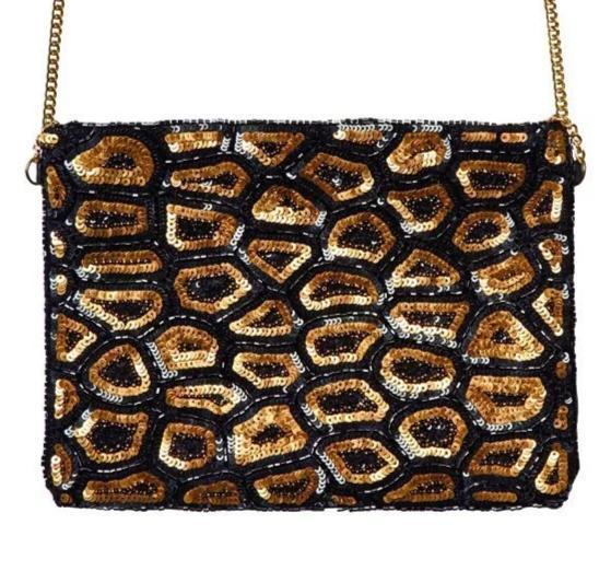 Sequins Animal Print Clutch w/ Gold Chain Strap (BSB3548) -FS-CLUTCH-BaySky