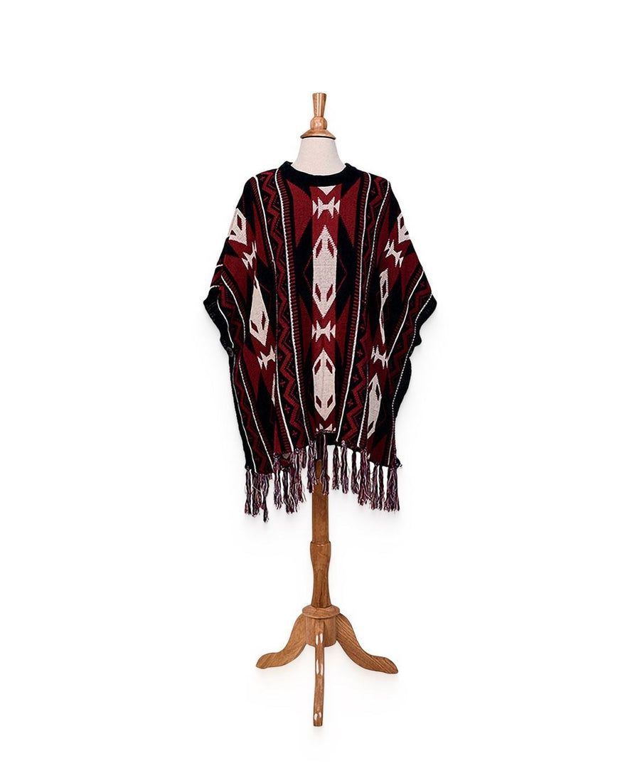 Knit Navajo Print Pull Over Poncho (BSP3536OSRED) -FS