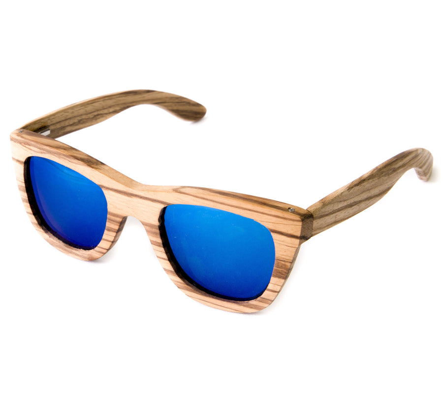 SDHC X SANDCLOUD brown wood sunglasses with blue polarized lens (SCS6004)
