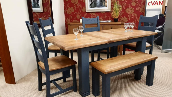 Navy & Oak Top Dining Set