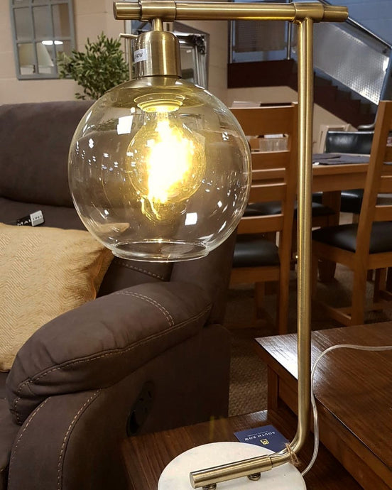 Lantern Styled Gold Brass Table Lamp