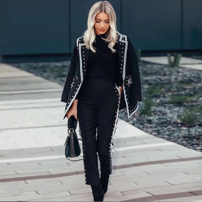 Black Studded Blazer Two-piece⎟Krystel's Boutique