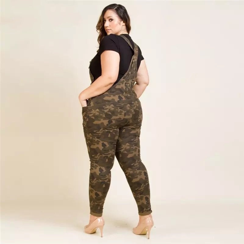 Women Camouflage Plus Size Jumpsuits