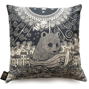 Bear in a Boat Linen Cushion