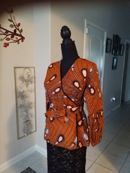 Ankara belted and wrap around Caramel Multi Top