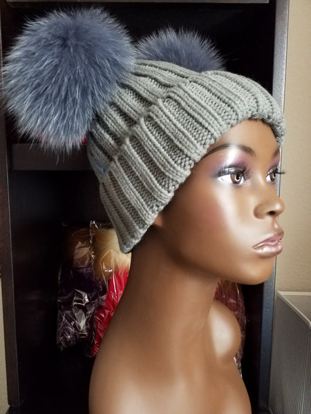 $10.00 off Women's Bunny Ears (Pom Pom) knit caps with 100% Fox fur