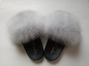 100% Fox Fur Slippers White - ENUBEE