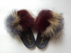 100% Fox Fur Slippers Multi Brown - ENUBEE