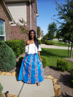 Beautiful patterned skirt, African A-line - ENUBEE