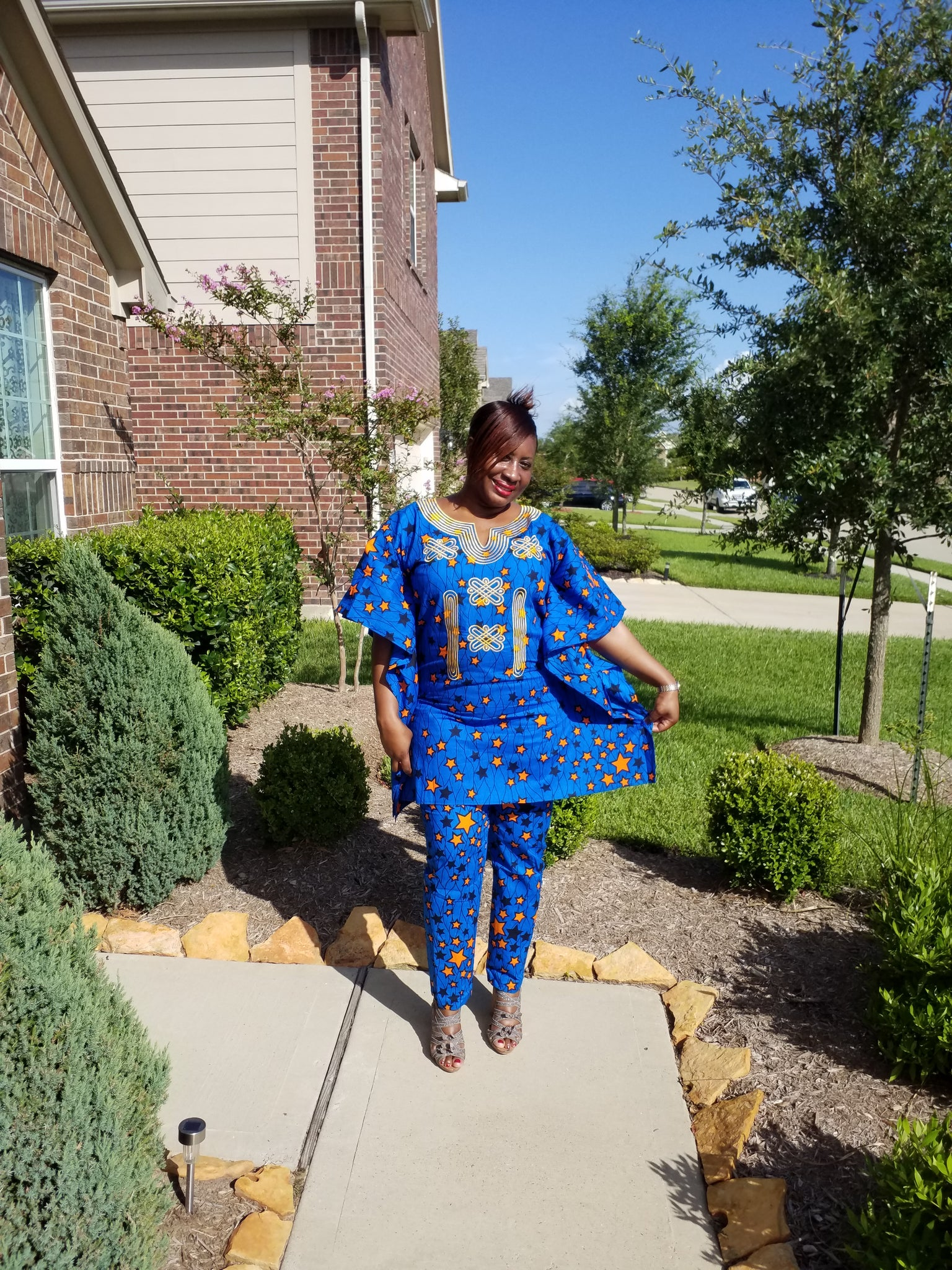 Women's blue 2 pant set (Embroidered African Wax print), - ENUBEE