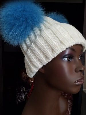 Women's Bunny Ears (Pom Pom) knit hats (caps) with 100% Fox fur - ENUBEE