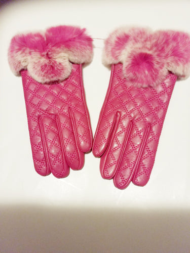 Women's gloves with Genuine leather and rabbit fur - ENUBEE