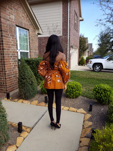Ankara Off/On Shoulder belted Caramel Multi Top - ENUBEE