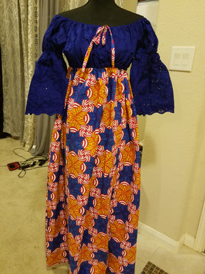 Ankara-Stone Lace Dress Long - ENUBEE