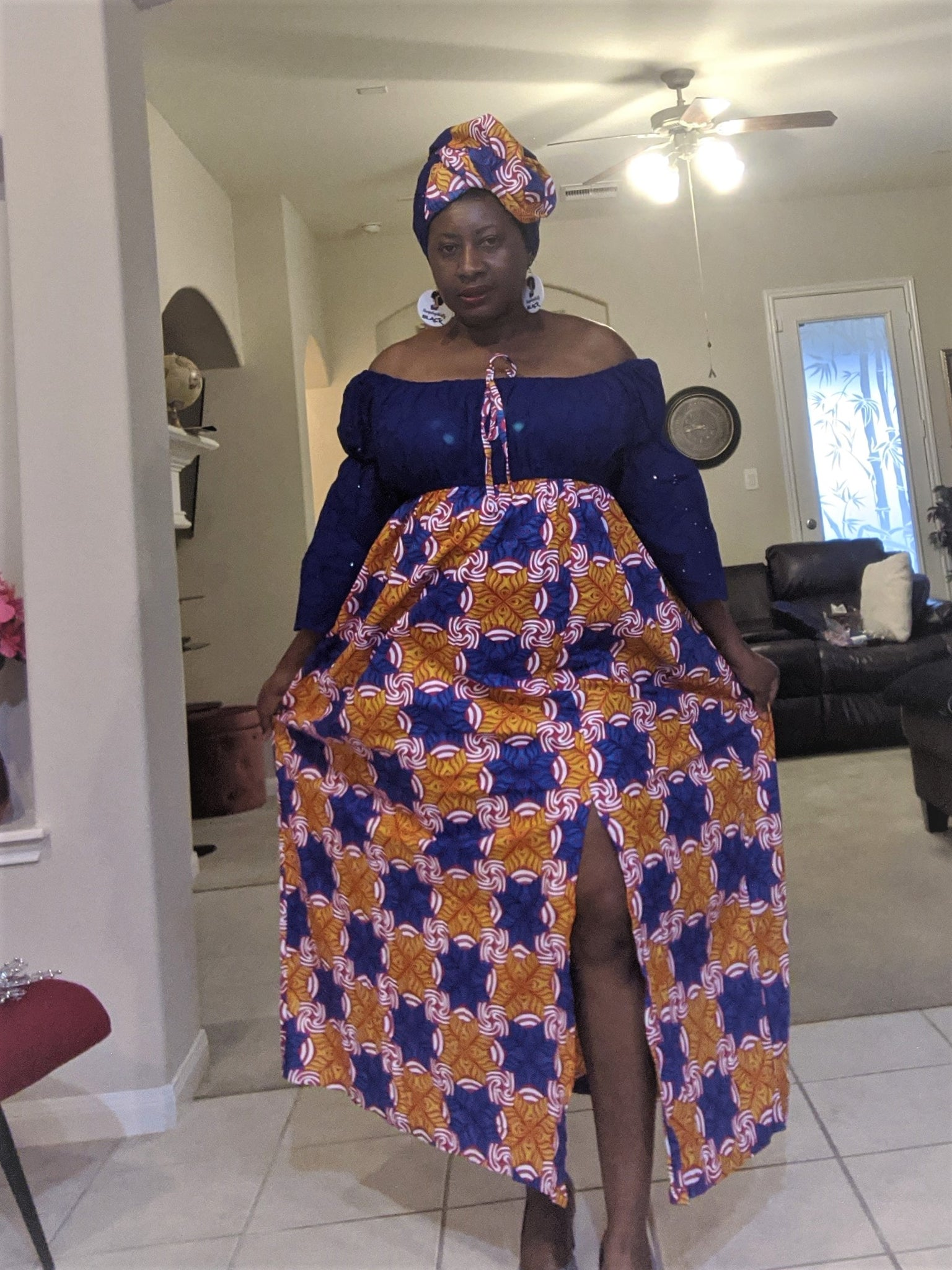Ankara-Stone Lace Dress Long