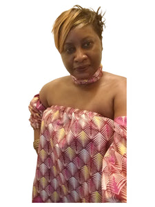 Ankara! Off Shoulder Blouse with Choker (multi patterned) - ENUBEE