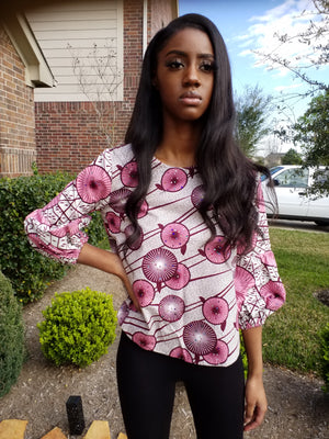 Ankara Puff Sleeve Top - ENUBEE