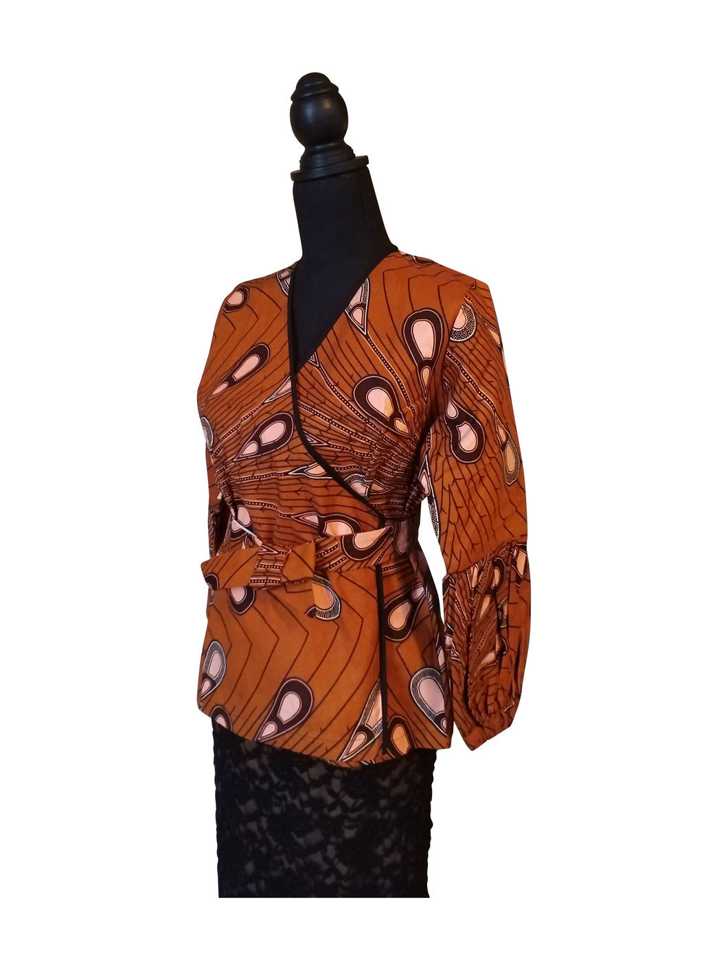 Ankara belted and wrap around Caramel Multi Top - ENUBEE