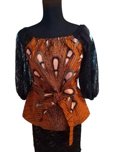 Belted Ankara Caramel Multi Top with lace sleeves - ENUBEE