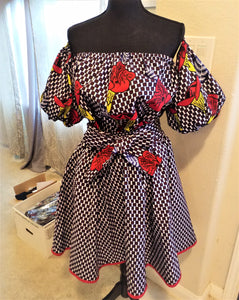 NEW! Beautiful patterned skirt with Off shoulder Blouse(with choker), African (One Size) - ENUBEE