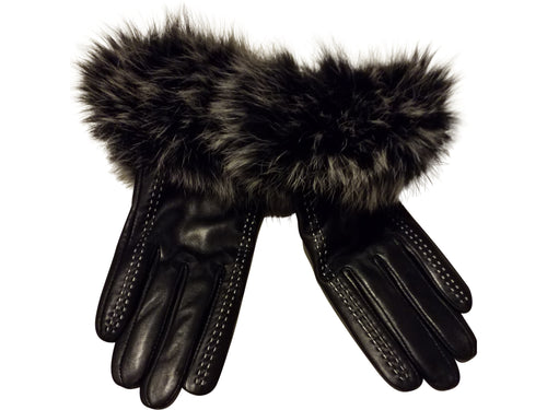 Women's gloves (Genuine leather and Fox fur)- Black - ENUBEE