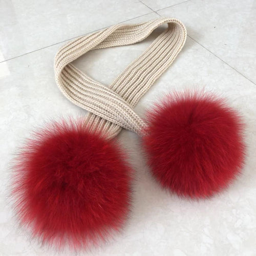 Gorgeous Ladies Knit Scarves with Fox Fur Pom Poms - ENUBEE