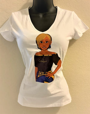 Enubee Lady T Shirts- (short sleeve White)
