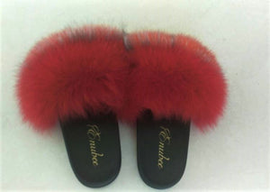 100% Fox Fur Slippers 2 Tone colors! Red/Brown