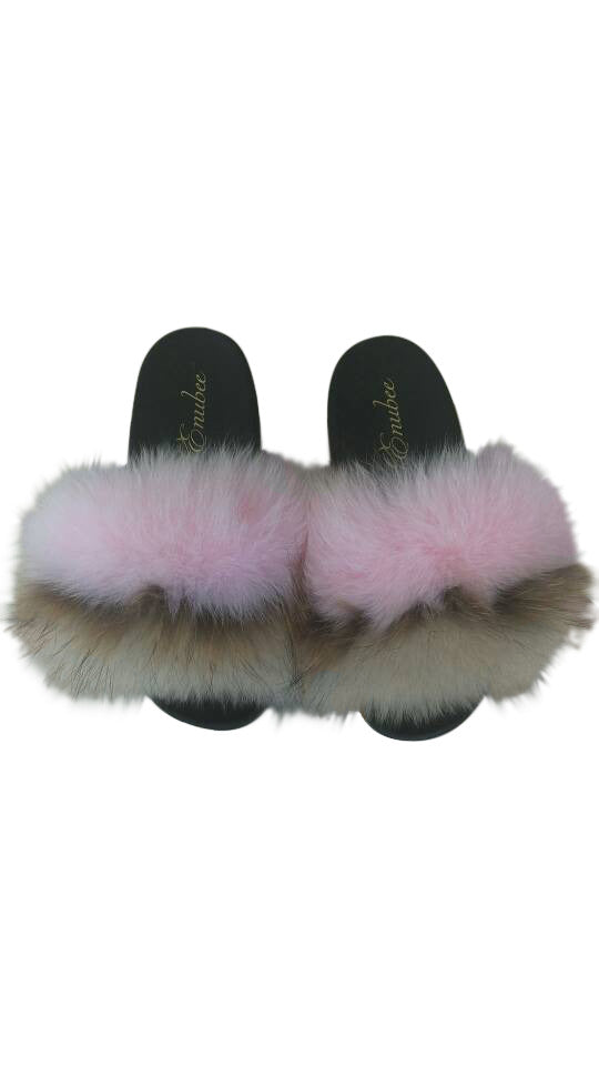100% Fox Fur Slippers 2 Tone colors! Pink/Brown - ENUBEE