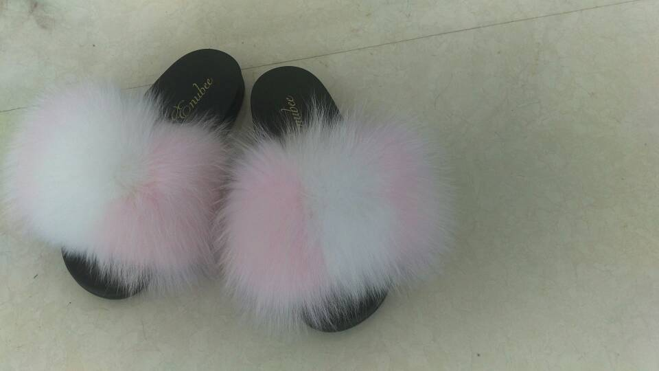 100% Fox Fur Slippers 2 Tone colors! Pink/White - ENUBEE