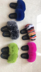 100% Fox Fur Slippers Blue - ENUBEE