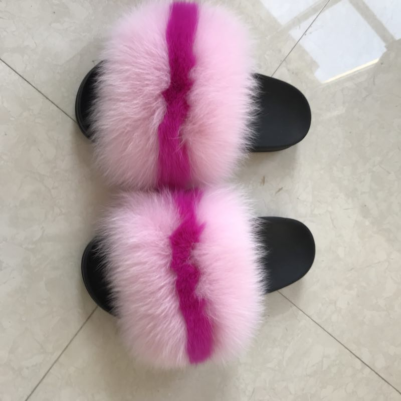 100% Fox Fur Slippers 2 Tone colors! Pink/Magenta - ENUBEE