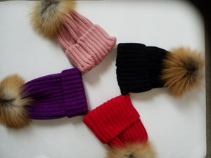 Women's Colorful Knit caps with Fox fur - ENUBEE