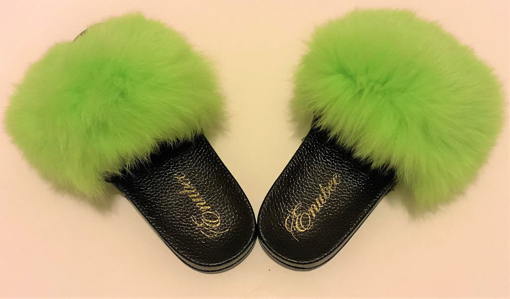 100% Fox Fur Slippers Green