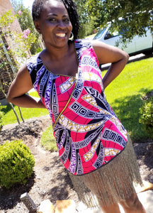 Sleeveless Mini African Patterned Dress with frills- Ankara Design - ENUBEE