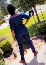Off Shoulder Ladies Denim Jumpsuit- Short Sleeve - ENUBEE