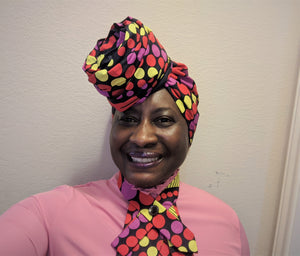 Head Scarf and Collar set in African Waxprint