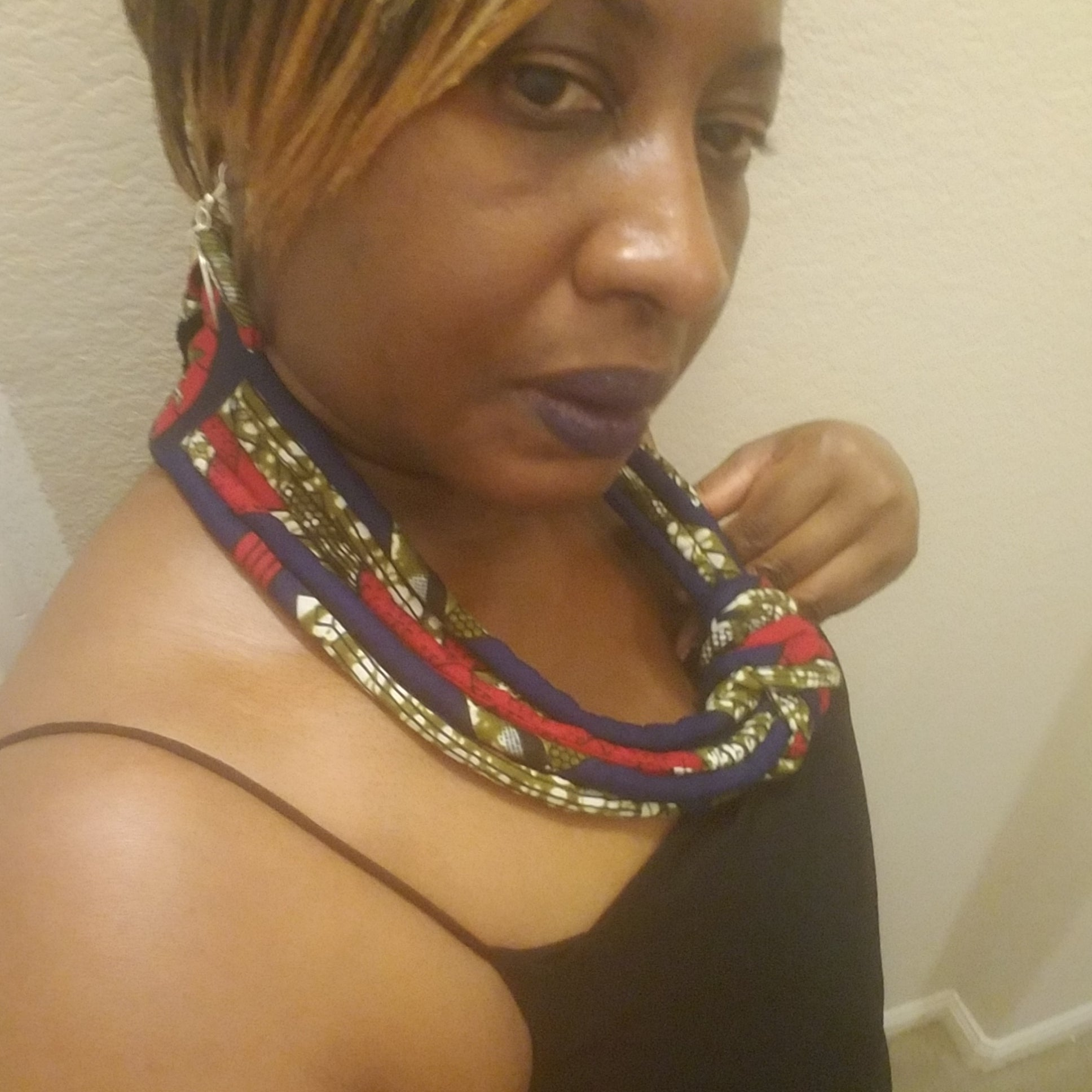African Print Necklace set- Blue multi - ENUBEE