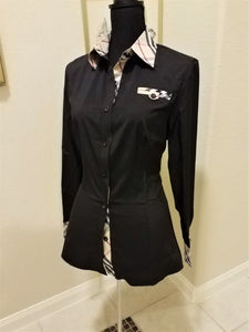 Ladies Long Sleeve Checkered Shirt - ENUBEE