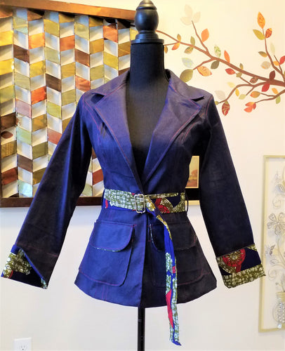 Denim Suit Separate- With Ankara trimming - ENUBEE