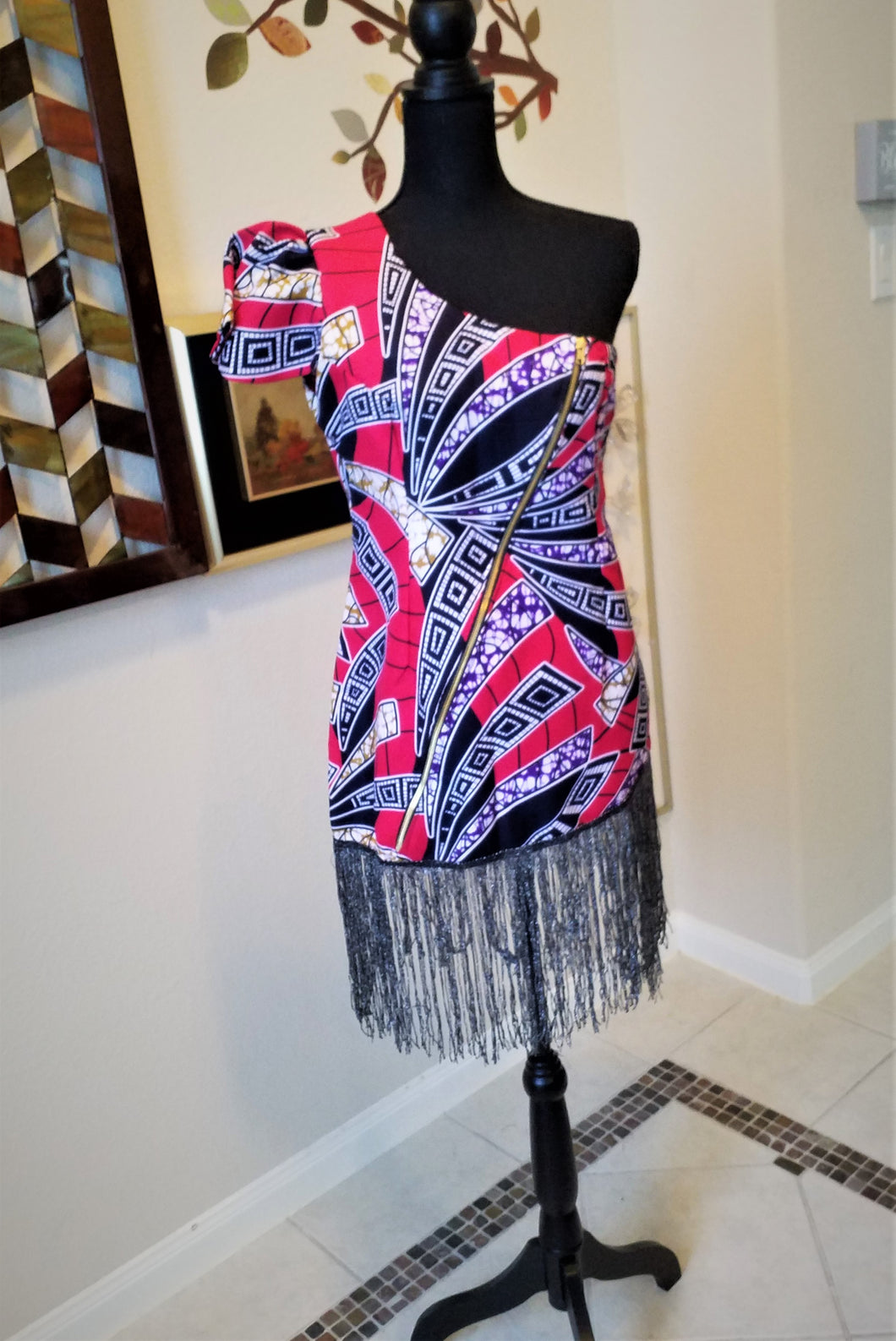 One Shoulder Mini African Patterned Dress with frills- Ankara Design - ENUBEE