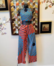 Ankara Halter Blue and Orange Pant set - ENUBEE