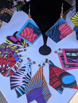 African Style Print Earrings- Cubes