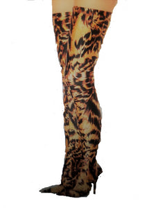 Leopard Print Over the knee boots - ENUBEE